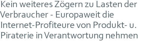 Kein weiteres Zögern zu Lasten der Verbraucher - Europaweit die Internet-Profiteure von Produkt- u. Piraterie in Verantwortung nehmen