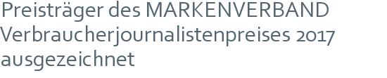 Preisträger des MARKENVERBAND Verbraucherjournalistenpreises 2017 ausgezeichnet