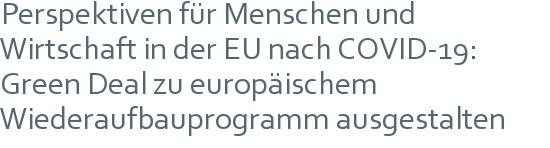 Perspektiven für Menschen und Wirtschaft in der EU nach COVID-19: Green Deal zu europäischem Wiederaufbauprogramm ausgestalten