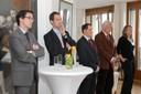 Holger Karkheck (2. Platz), Christan Fronczak, Dr. Alexander Dröge, Prof. Dr. Christoph Fasel (Jury), Vanessa Göbel